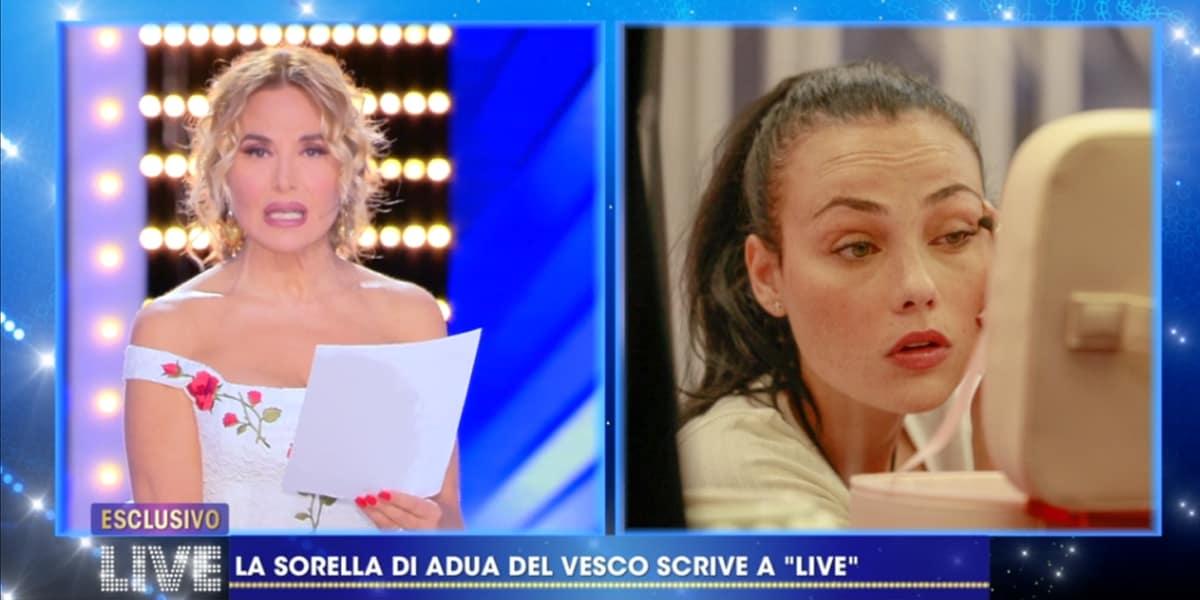 LIVE Non è La D'Urso: la sorella di Adua Del Vesco smentisce Zorzi con una lettera
