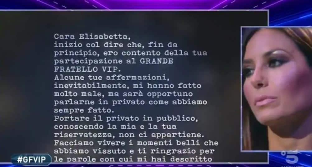 La lettera di Flavio Briatore per Elisabetta Gregoraci al GF VIP 5