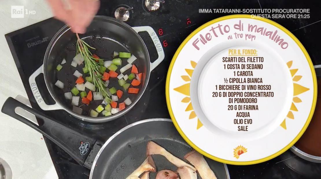 Filetto di maialino ai tre pepi, la ricetta di Michele Farru da E' sempre mezzogiorno