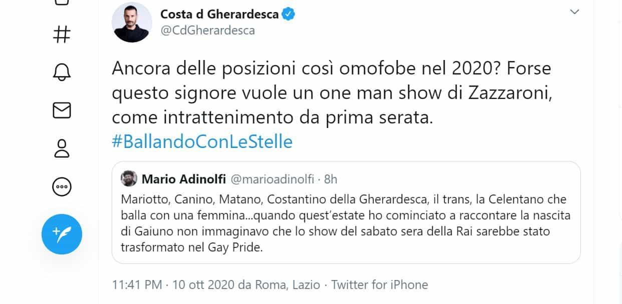 Mario Adinolfi attacca Ballando con le stelle e Canale 5: sabato sera occupato militarmente da gay e trans
