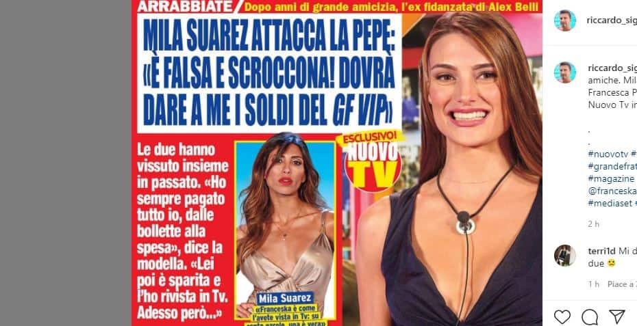 "Mila Suarez attacca Franceska Pepe: ""è una scroccona mi deve dei soldi"""