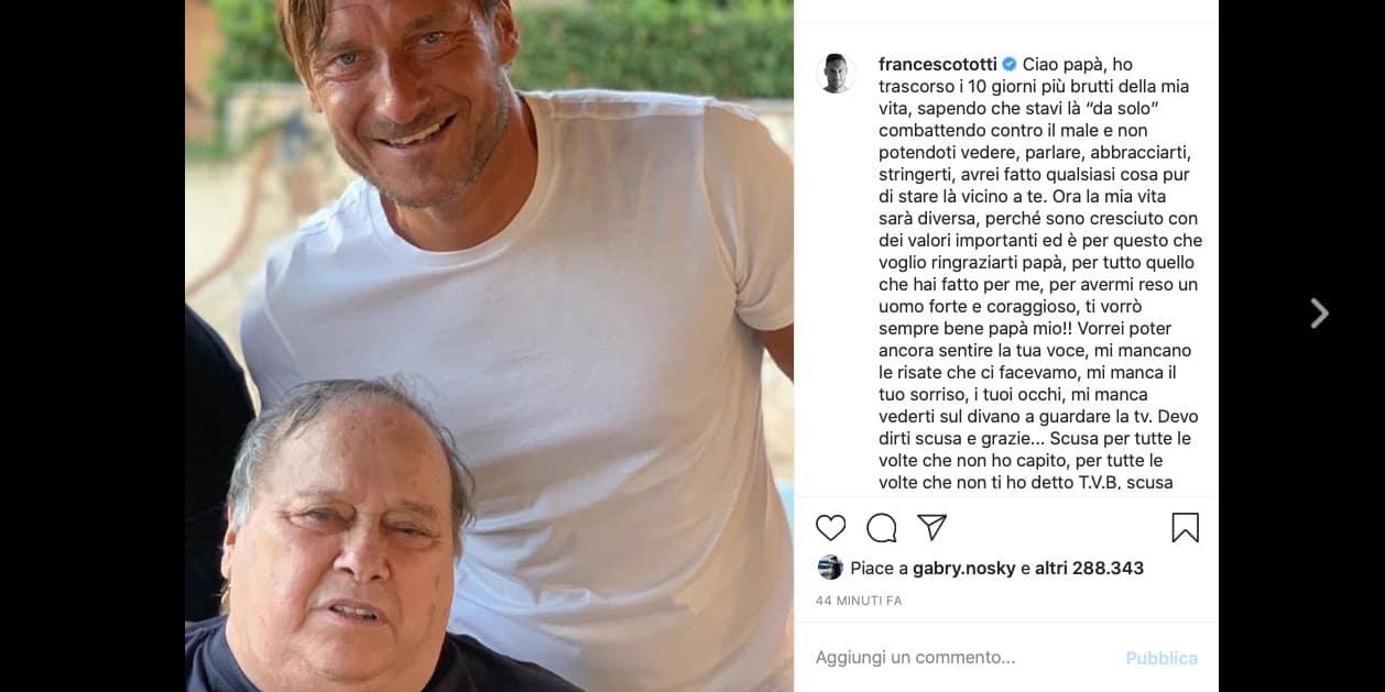"""L'addio di Francesco Totti al papà: """"I 10 giorni più brutti della mia vita"""""""