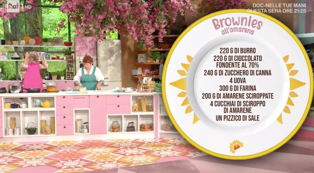 Brownies all'amarena, la ricetta di Zia Cri per E' sempre mezzogiorno (Foto)