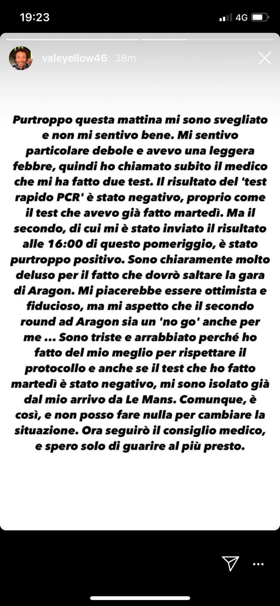 """Anche Valentino Rossi positivo al covid 19: """"Sono triste e arrabbiato, spero di guarire presto"""""""