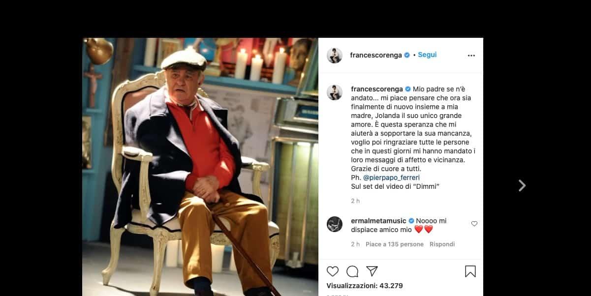 Il messaggio di addio di Francesco Renga al papà morto dopo la malattia