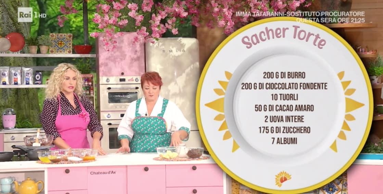 Zia Cri prepara la torta sacher per Mara Venier, la ricetta da E' sempre mezzogiorno (Foto)
