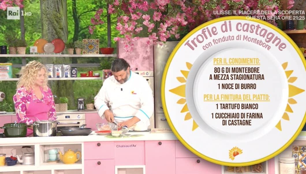Fabrizio Rebollini cucina trofie di castagne con fonduta, ricetta E' sempre mezzogiorno (Foto)