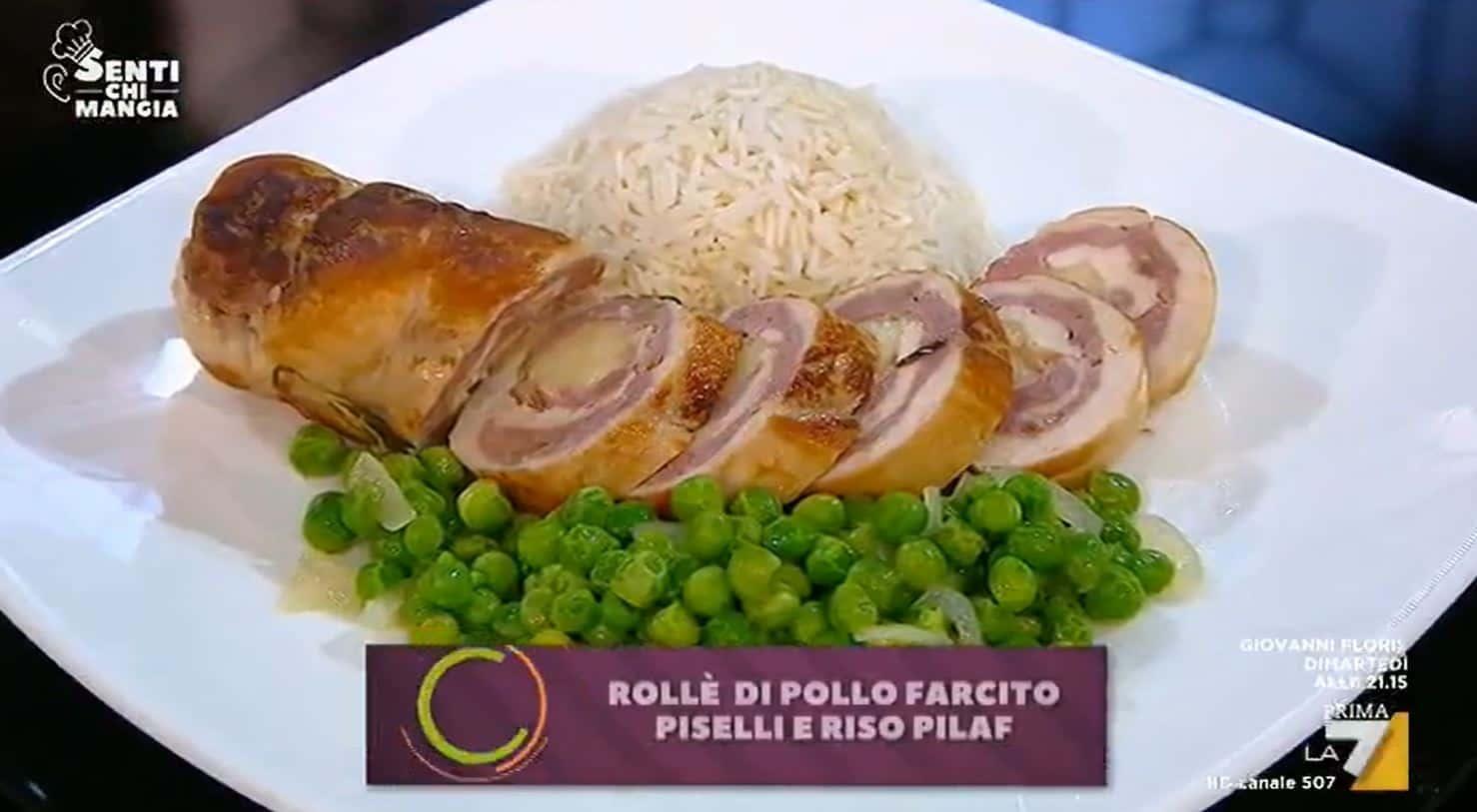 Rollè di pollo farcito con piselli e riso pilaf: una ricetta di Benedetta Parodi