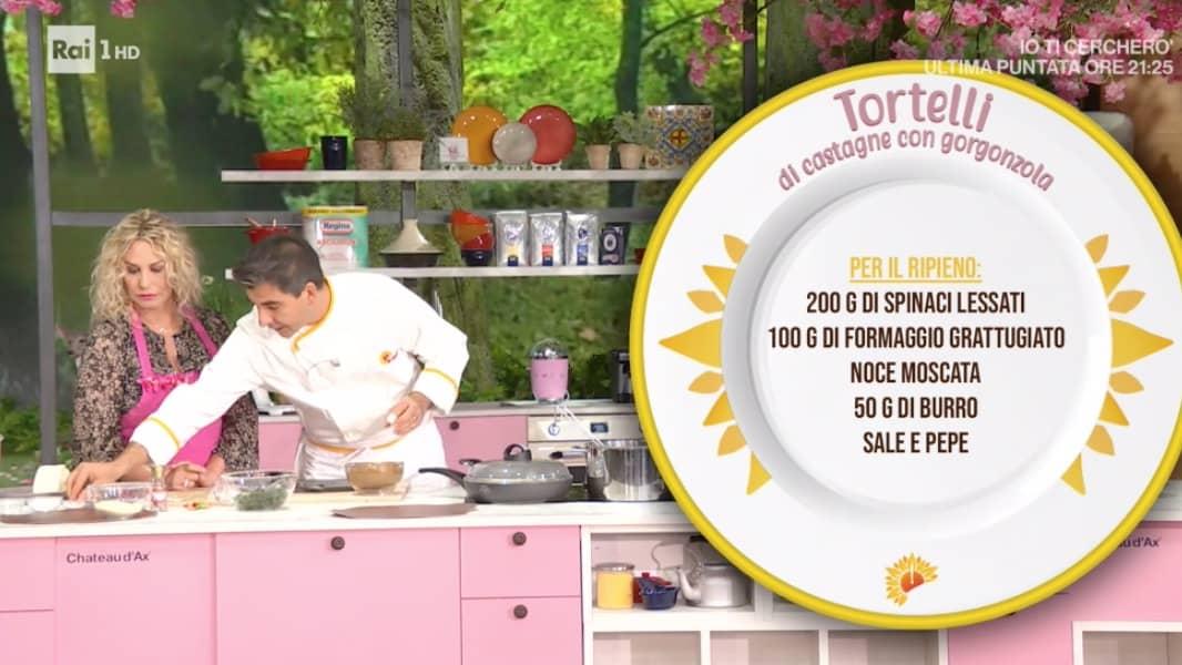 Sergio Barzetti, la ricetta tortelli di castagne con gorgonzola per E' sempre mezzogiorno (Foto)