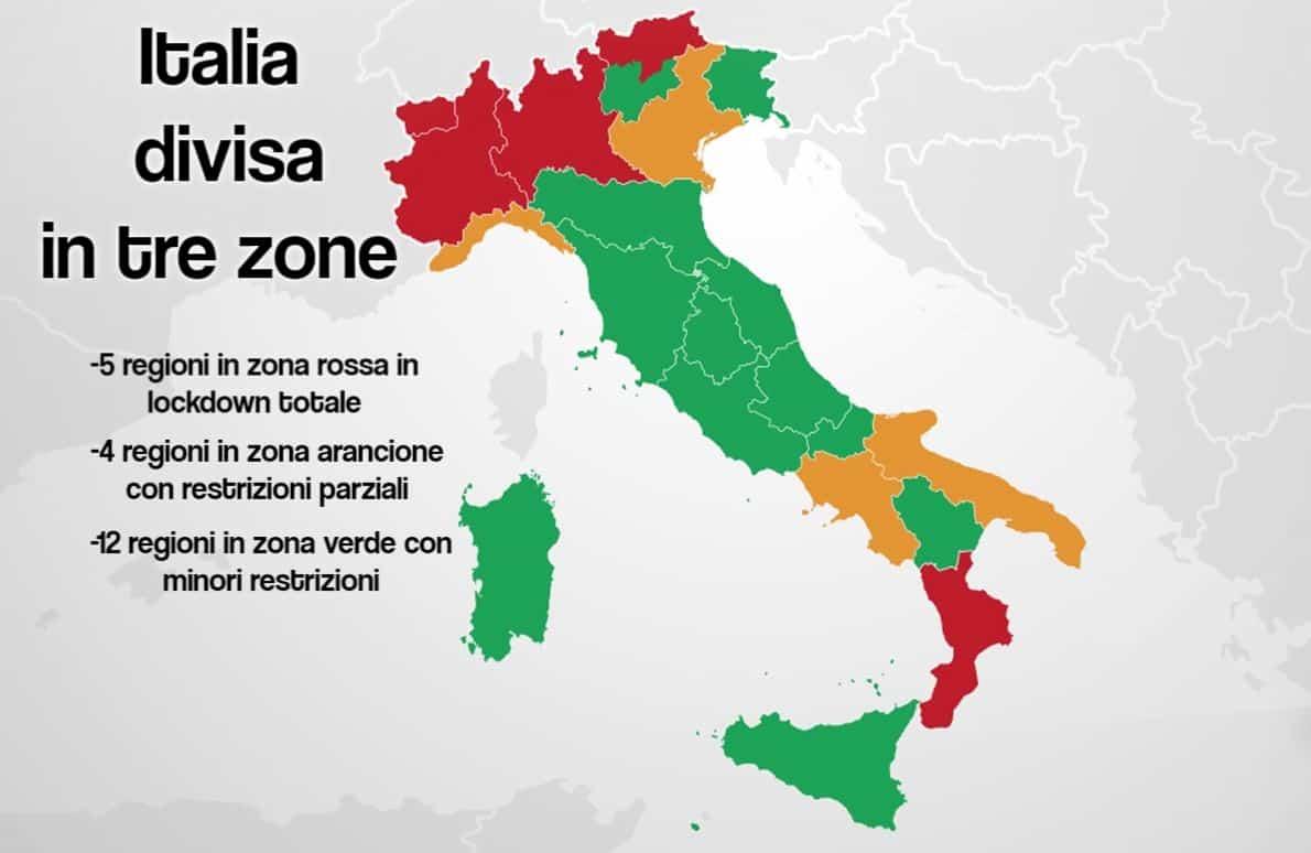 Italia divisa in zone regione per regione: sono 5 le regioni zona rossa a rischio lockdown
