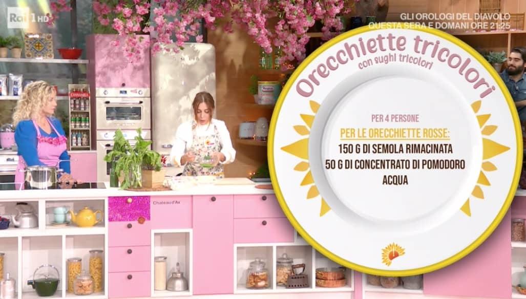 Orecchiette colorate con sughi tricolori di Antonella Ricci, la ricetta E' sempre mezzogiorno