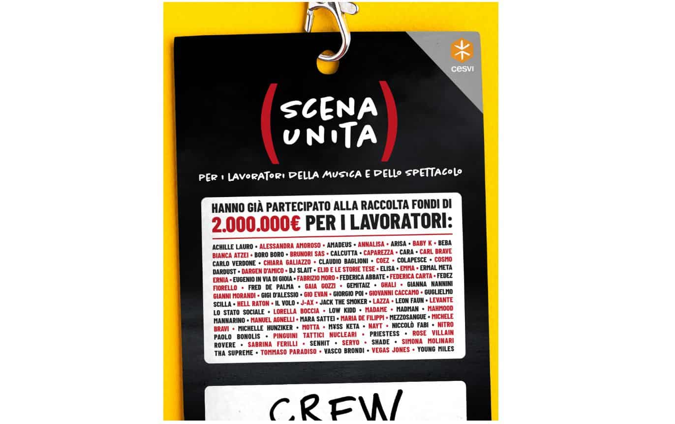 Scena Unita la raccolta fondi degli artisti per i lavoratori della musica e dello spettacolo