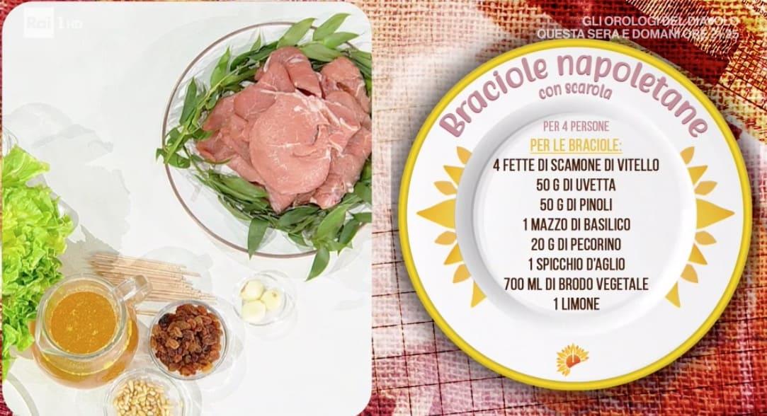 Braciole napoletane con scarola, la ricetta E' sempre mezzogiorno di Roberto Di Pinto