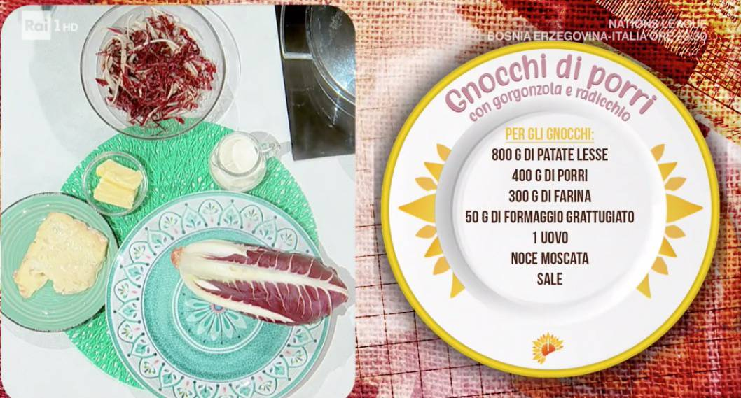 Gnocchi di porri con gorgonzola e radicchio di Daniele Persegani, ricette E' sempre mezzogiorno