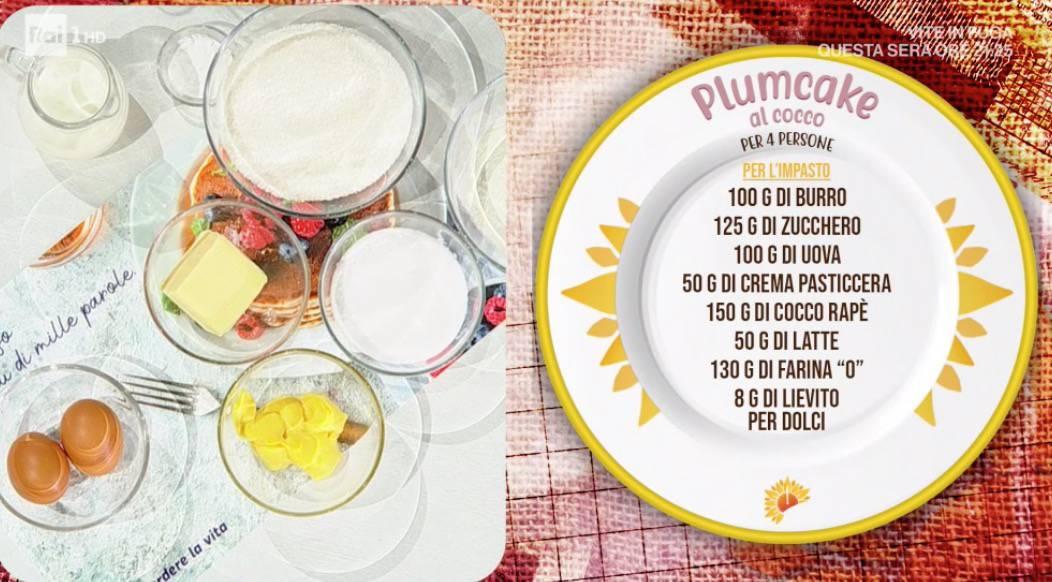 Plumcake al cocco di zia Cri, la ricetta scelta da Maria Grazia Cucinotta per E' sempre mezzogiorno (Foto)