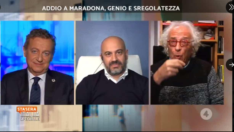 """Le parole di Mughini su Maradona da Stasera Italia: """"era sfatto, frantumato e disperato da anni"""""""
