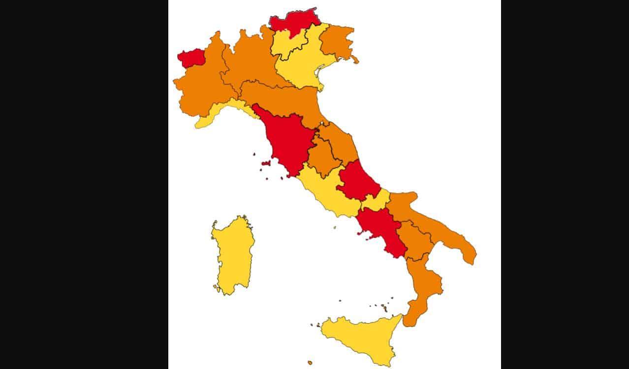 Le regioni che cambiano colore: 3 regioni rosse diventano arancioni, 2 arancioni passano in gialla