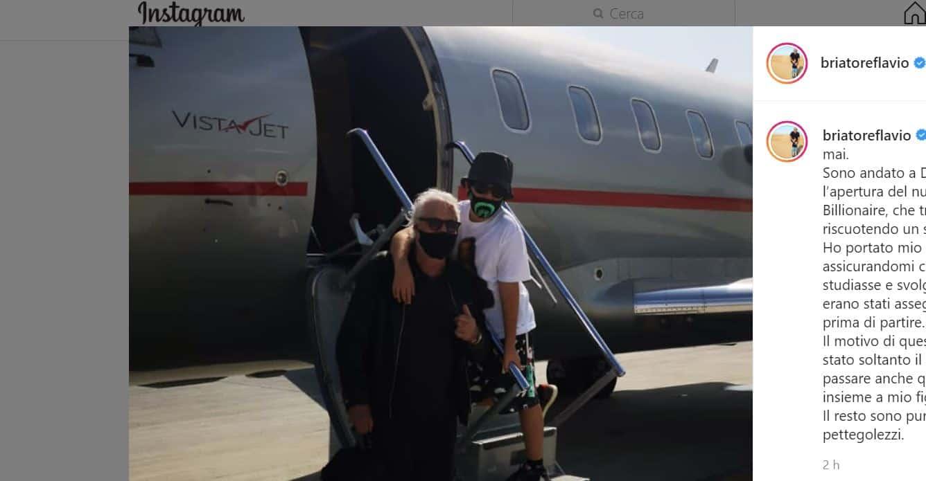 Flavio Briatore infastidito dai gossip spiega perchè è a Dubai con Nathan