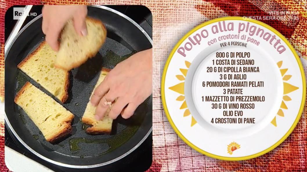 Polpo alla pignatta con crostoni di pane, la ricetta di Antonella Ricci