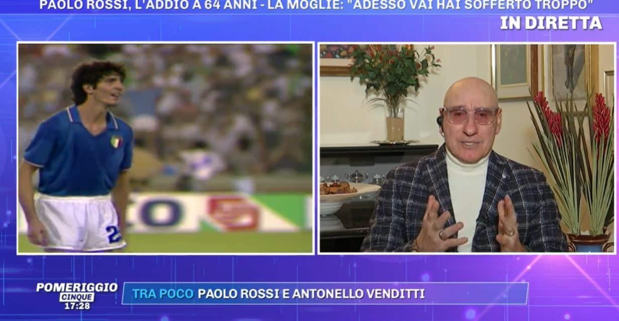 """Le lacrime di Ciccio Graziani a Pomeriggio 5 per Paolo Rossi: """"Ho perso un fratello"""""""