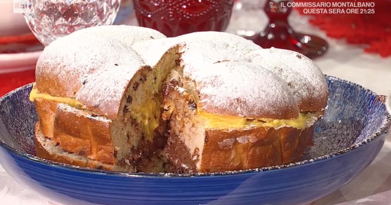 Ricette Fulvio Marino: danubio al cioccolato con frutta secca farcito con crema e Nutella per Natale