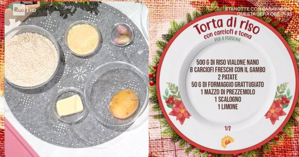 Torta di riso con carciofi e toma di Sergio Barzetti, la ricetta E' sempre mezzogiorno