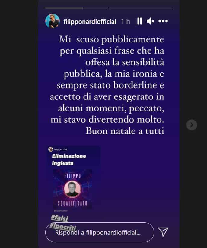 Filippo Nardi squalificato dal GF VIP 5: le prime parole sui social