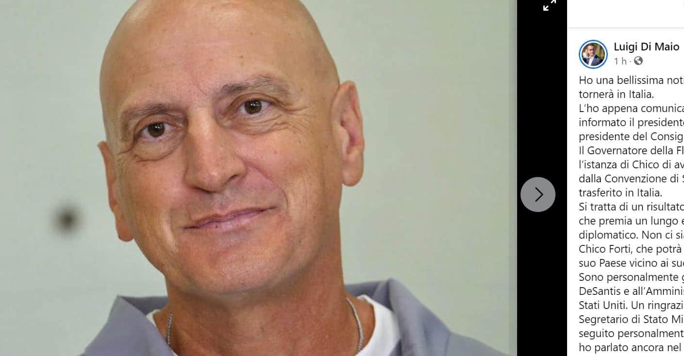 Chico Forti torna in Italia dopo 20 anni di carcere: l'annuncio di Di Maio