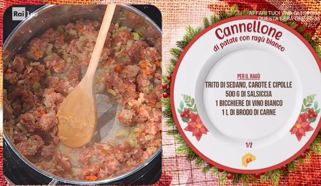 Fabio Potenzano prepara cannelloni di patate con ragù bianco, ricette E' sempre mezzogiorno