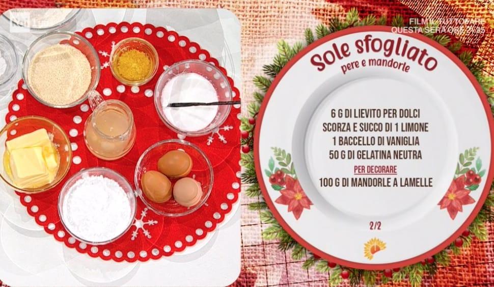 Torta sfogliata pere e mandorle, la ricetta della torta sole di Zia Cri