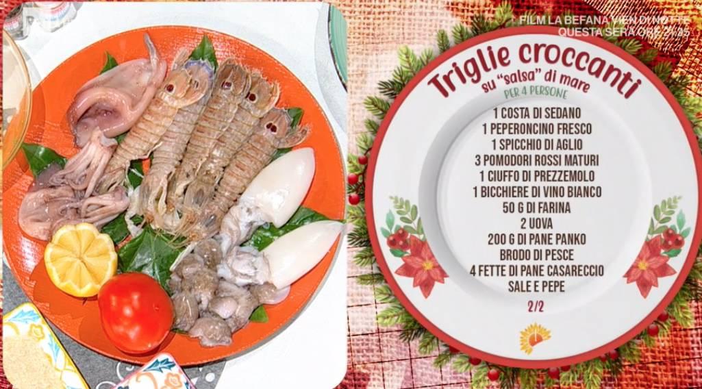 Triglie croccanti su salsa di mare, la ricetta di Ivano Ricchebono per E' sempre mezzogiorno