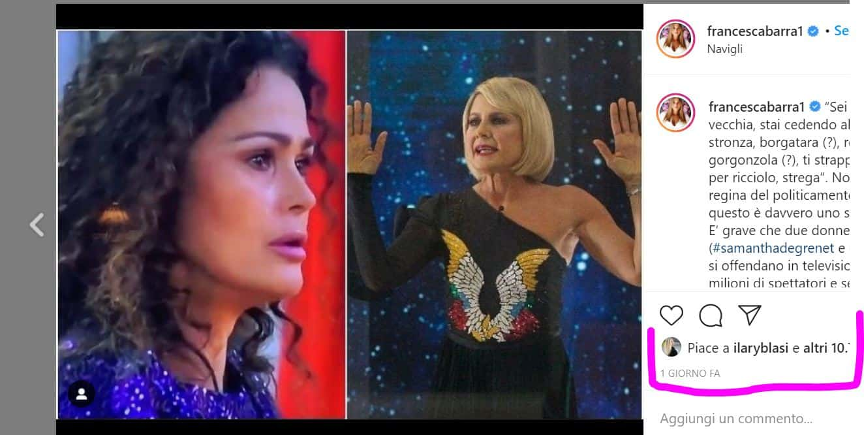 Il post di Francesca Barra contro il GF VIP 5 in difesa delle donne piace anche a Ilary Blasi