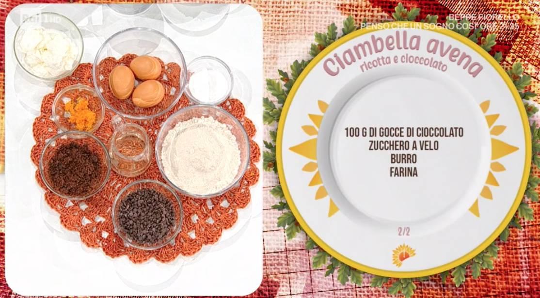 Ciambella avena, ricotta e cioccolato di zia Cri per E' sempre mezzogiorno