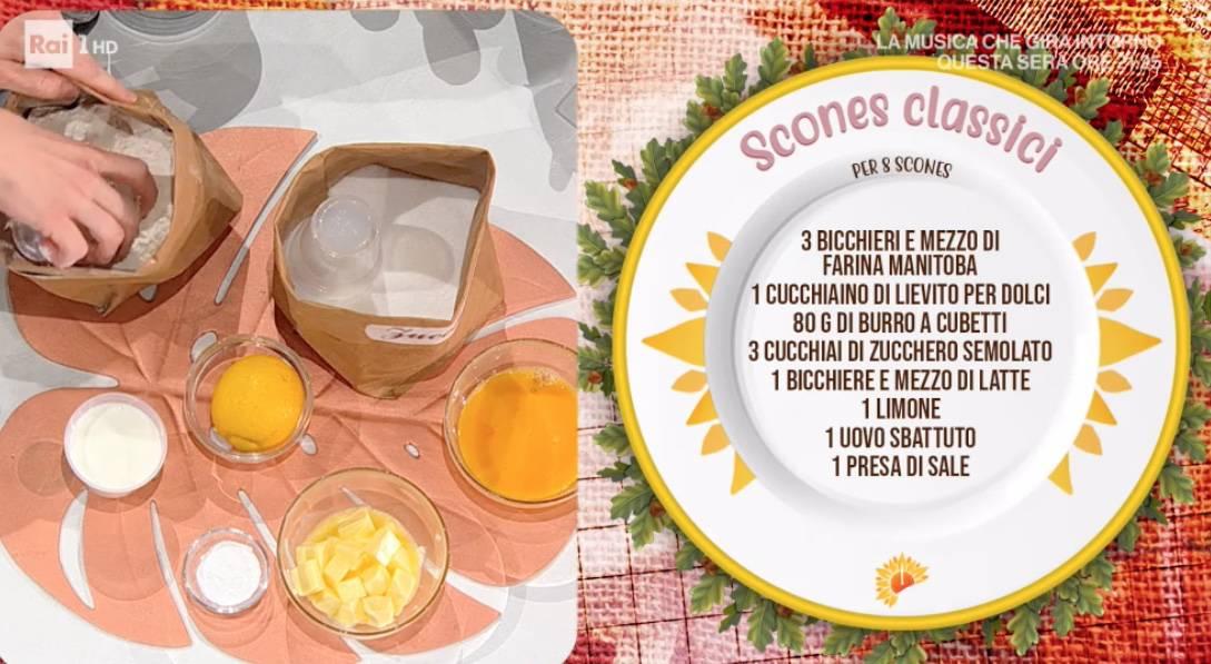 Scones dolci, la ricetta di Sara Brancaccio per E' sempre mezzogiorno