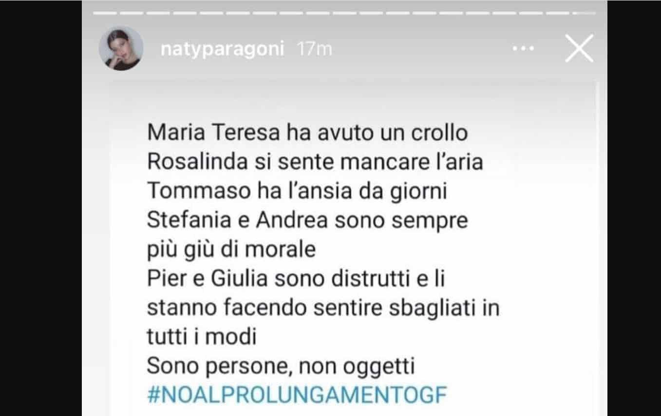 """Natalia Paragoni si """"ribella"""" al prolungamento del GF VIP 5 e fa una dedica al suo Andrea Zelletta"""