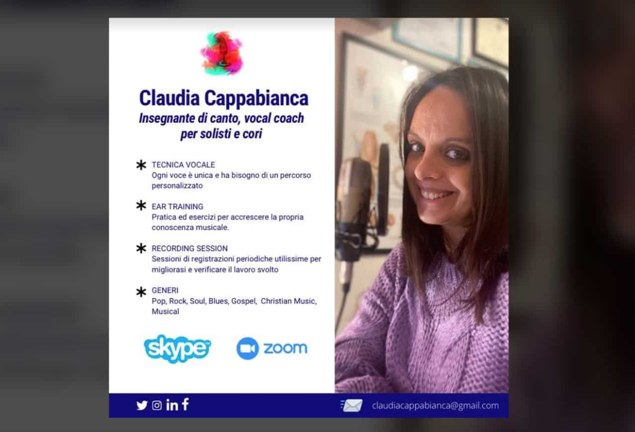 Canto pop online con la vocal coach Claudia Cappabianca, da febbraio 2021