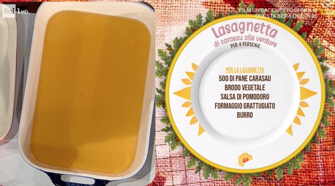 E' sempre mezzogiorno: lasagnetta di pane carasau alle verdure dalle ricette di Farru