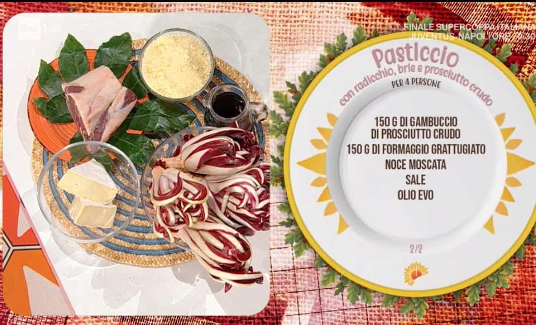 Pasticcio con radicchio, brie e prosciutto crudo, la ricetta di Francesca Marsetti