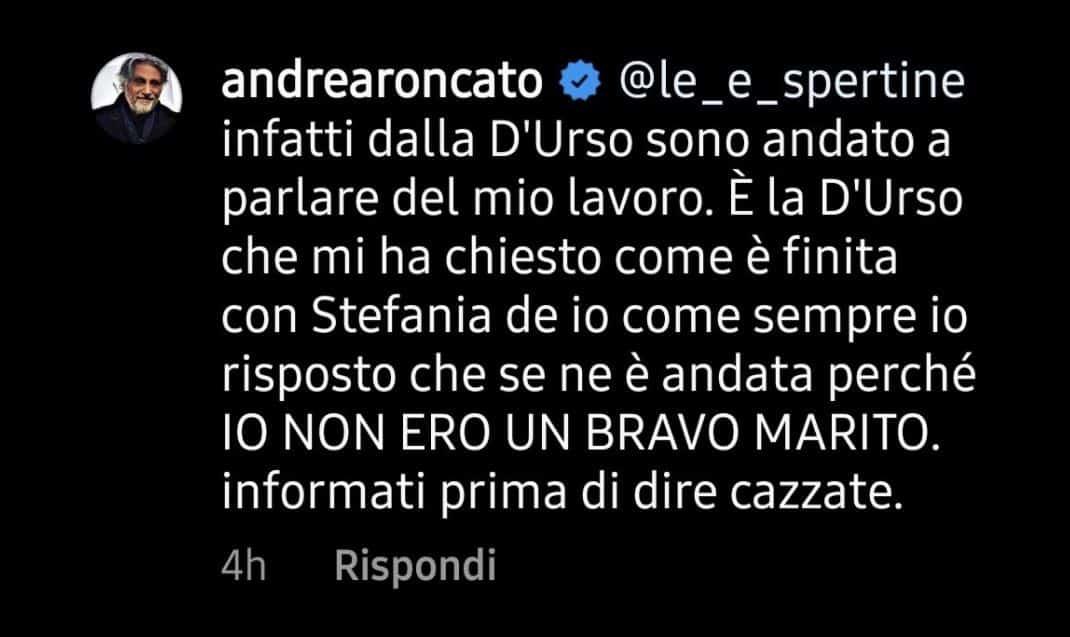 """Andrea Roncato punta il dito contro la d'Urso: """"Ero lì per altro, mi ha messo in imbarazzo"""""""