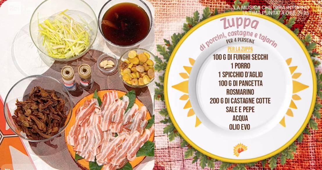 Ricette E' sempre mezzogiorno: zuppa di porcini secchi e castagne con i tajarin