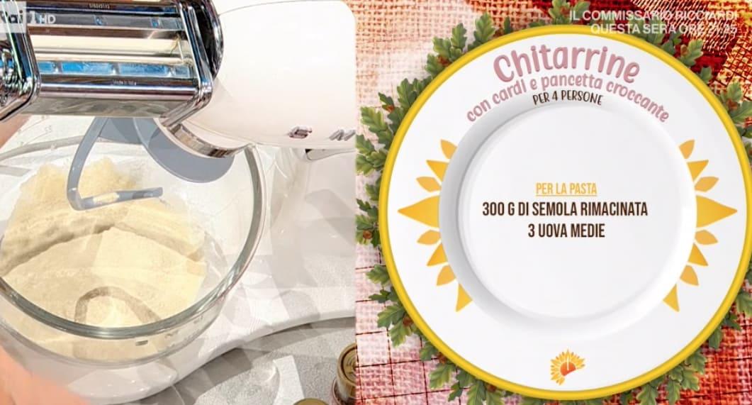 Ricette Antonella Ricci: chitarrine con cardi e pancetta croccante E' sempre mezzogiorno