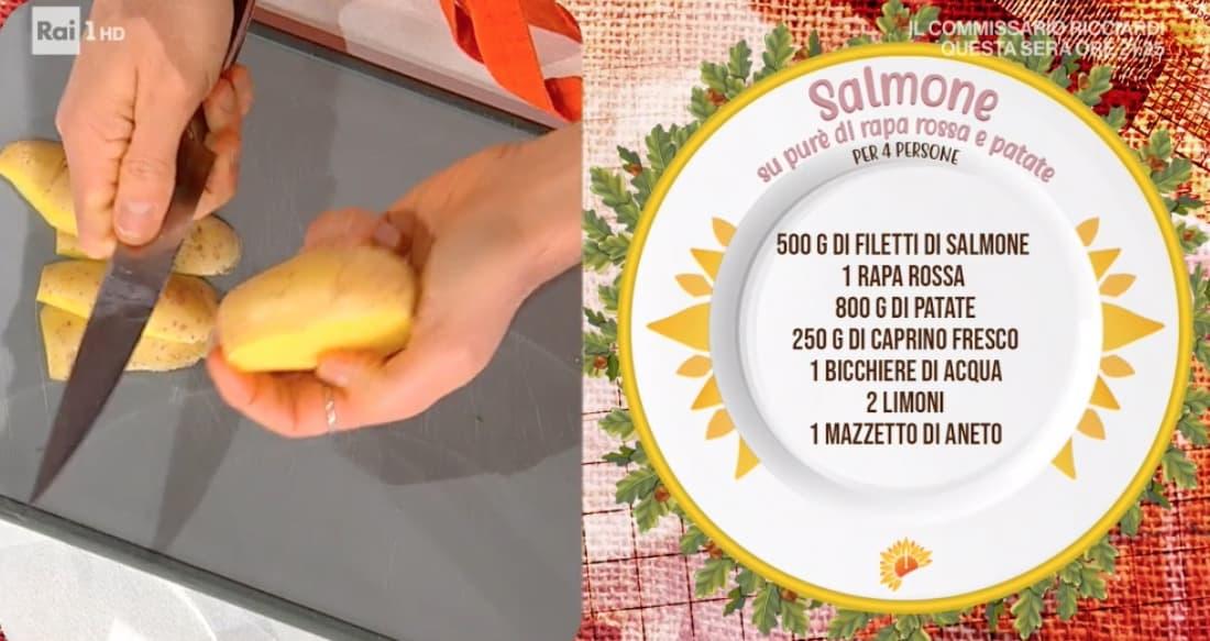 Ricette Marco Bianchi: salmone su purè di patate e rapa rossa da E' sempre mezzogiorno