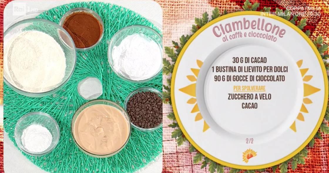 Ciambella al caffè e cioccolato di zia Cri, la ricetta dolce di E' sempre mezzogiorno