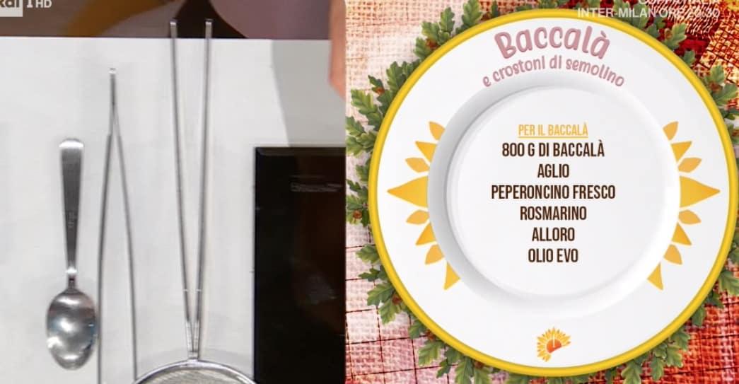 Gian Piero Fava: la ricetta del baccalà con crostoni di semolino, lenticchie e pomodorini al forno