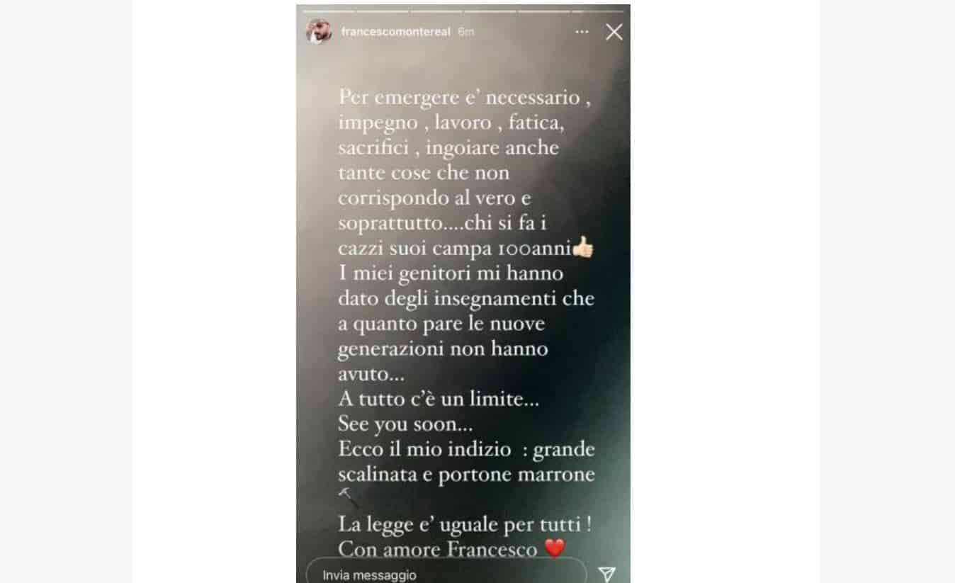 Francesco Monte sbotta sui social dopo le accuse di Zorzi: minaccia querela?
