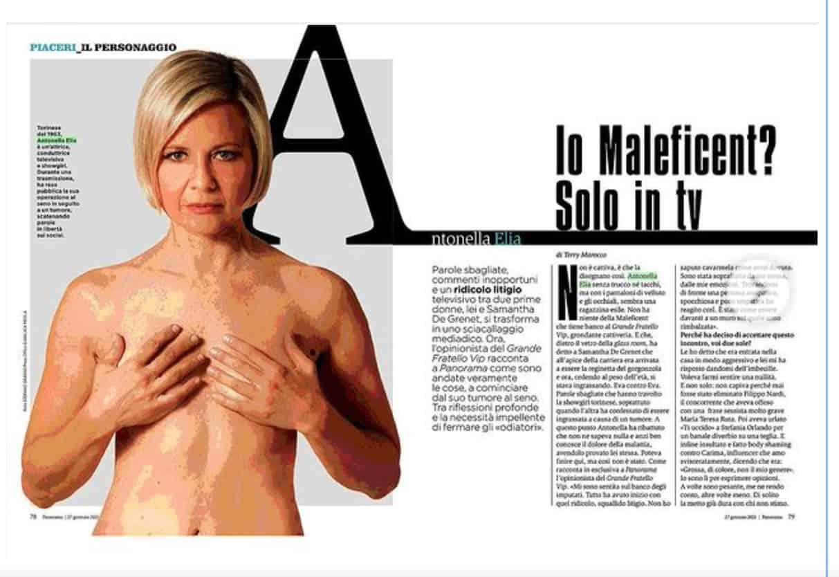 Antonella Elia evita le querele e racconta del tumore al seno, della sua battaglia (Foto)