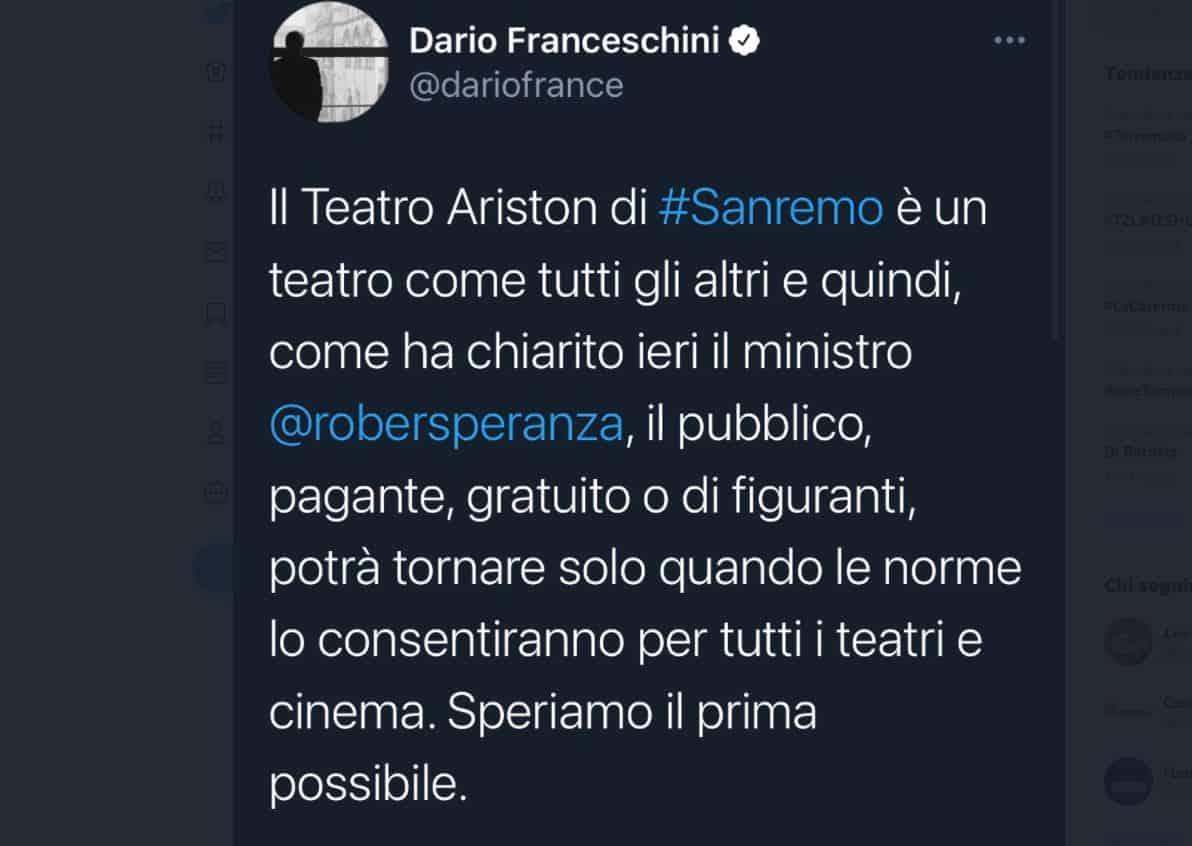 """Le parole del ministro Franceschini su Sanremo 2021 riaprono il caso """"pubblico/figuranti"""""""