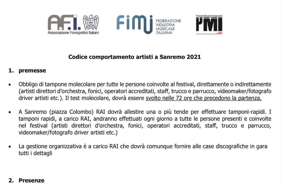 Le proposte dei discografici per un Sanremo 2021 in tutta sicurezza: il protocollo