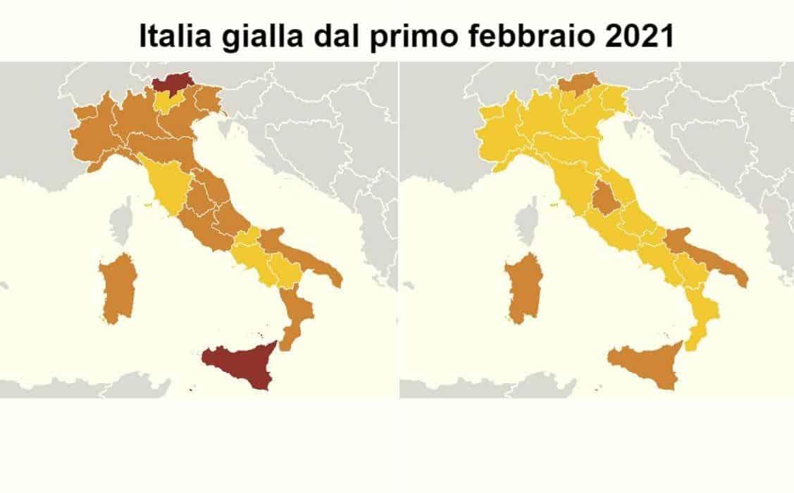 L'Italia diventa quasi tutta gialla: solo 5 aree restano arancioni