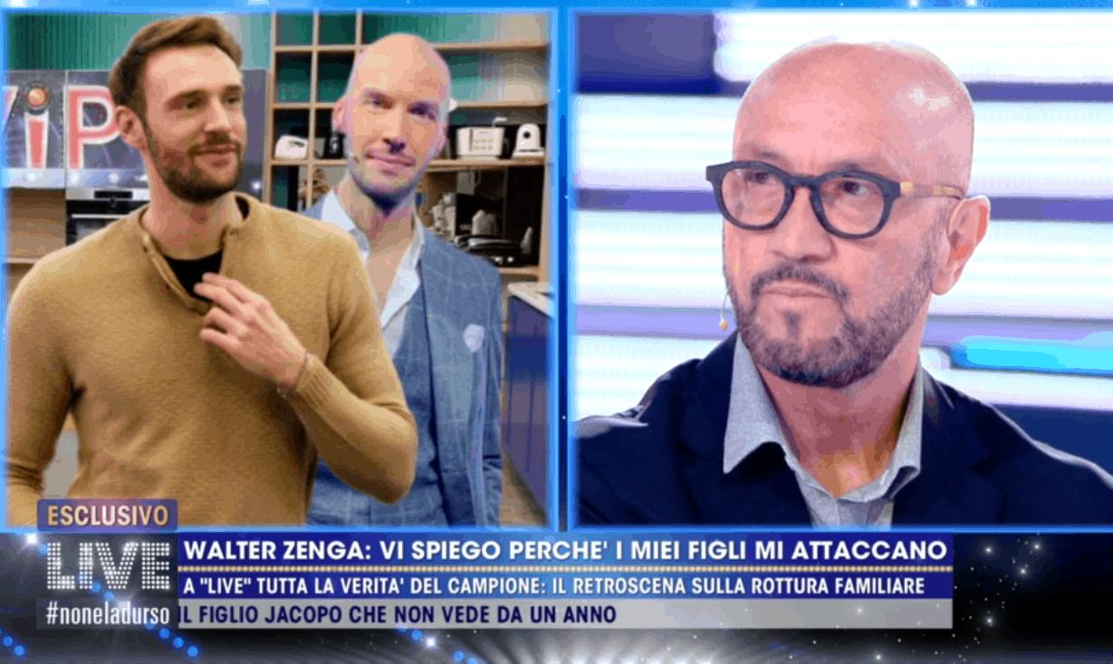 """Live, Walter Zenga e tutta la verità sul rapporto con Andrea e Nicolò: """"Voglio parlare con loro da uomo a uomo"""""""